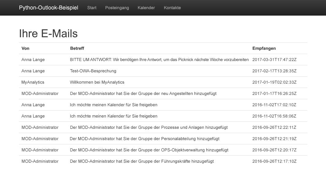 Verwenden von Outlook-REST-APIs in einer Python-App