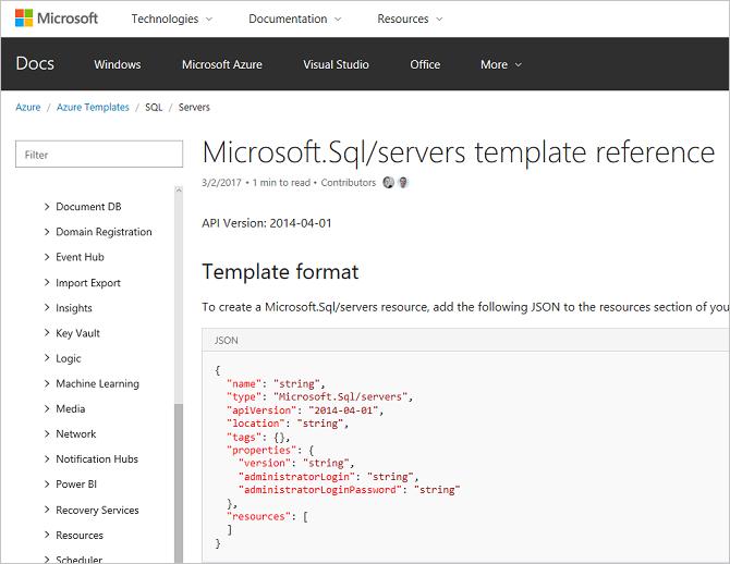 Referenz zu Azure Resource Manager-Vorlagen jetzt verfügbar ...
