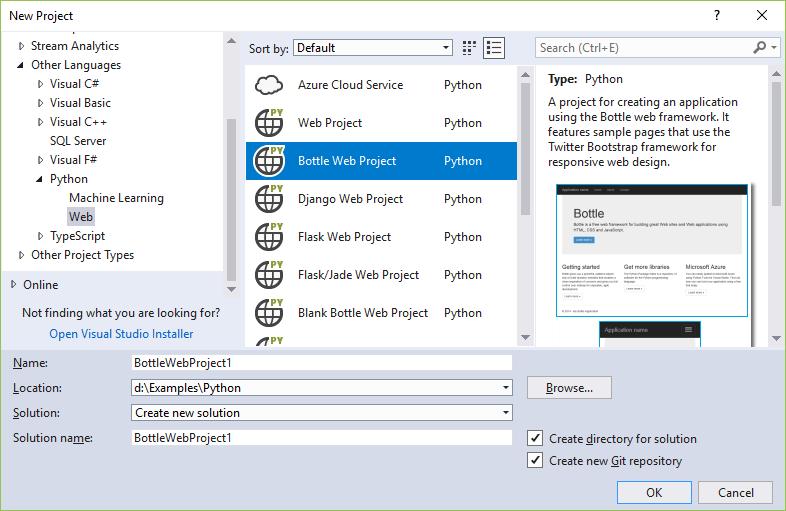 Webanwendungsvorlagen für Python - Visual Studio | Microsoft Docs