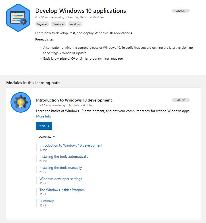Abbildung Der Windows Entwicklung Lernpfad