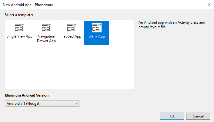"""Auswählen der Vorlage """"Leere App""""."""