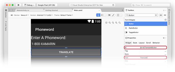 Als Übersetzen-Schaltfläche konfigurieren.