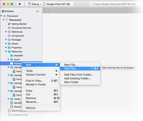 Hinzufügen von Dateien.
