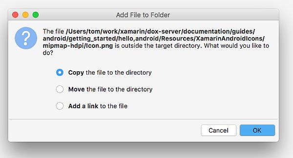"""Dialogfeld """"Datei in das Verzeichnis kopieren""""."""