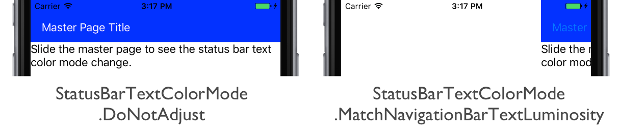 status-bar-text-color-mode Xamarin Forms Master Detail Example on settings page, tablet application, forms navigation, forms search box, forms filtering, login page border, forms listview, custom renderer, forms master-detail, shell title view, profile codes,