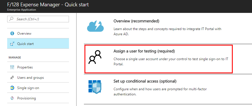 Assign a user for testing