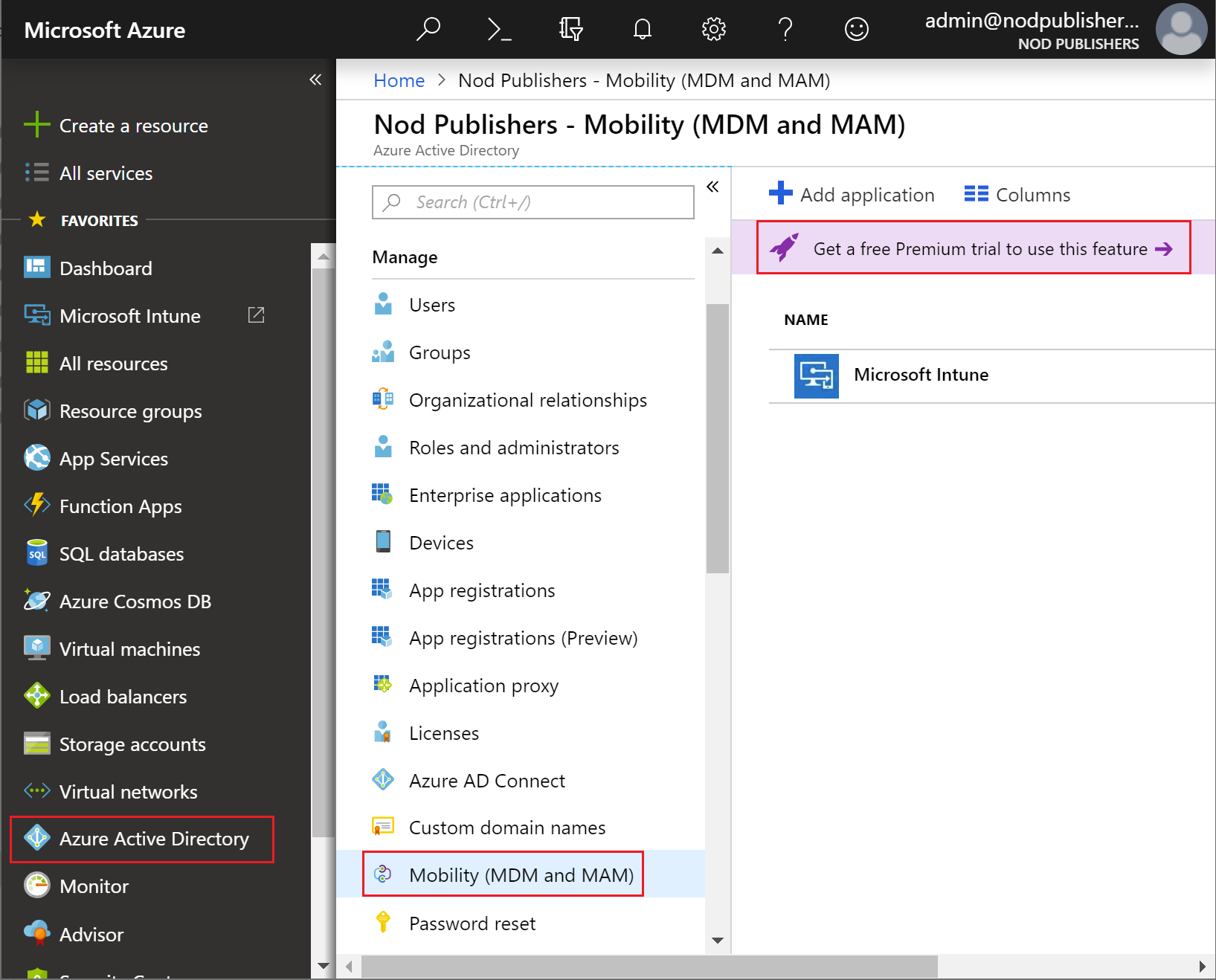 Select the Azure Active Directory free Premium trial