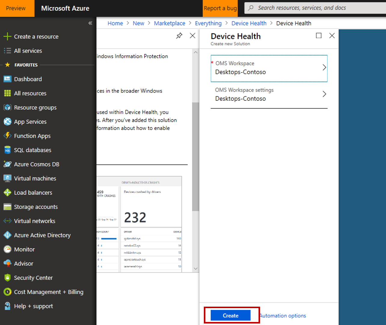 Azure portal showing workspace selected and with Create button highlighted