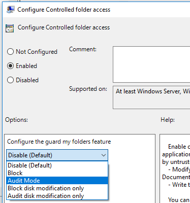 Screenshot of group policy option with Enabled and then Enable selected in the drop-down