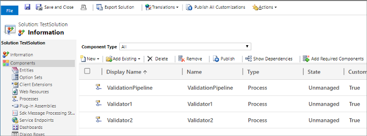 Validation pipeline actions
