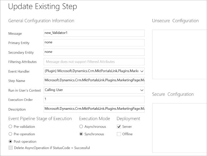 Plugin step for Validator1