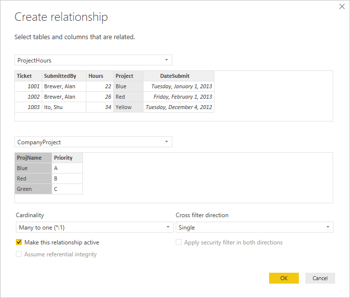 Create relationship dialog box