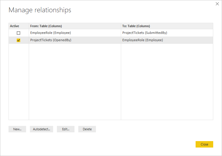 OpenedBy active in Manage relationships dialog box