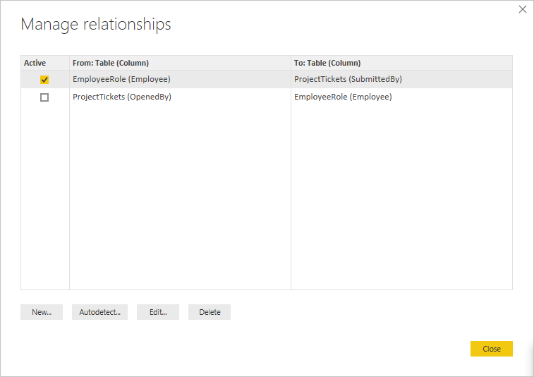 Change active relationship in Manage relationship dialog box