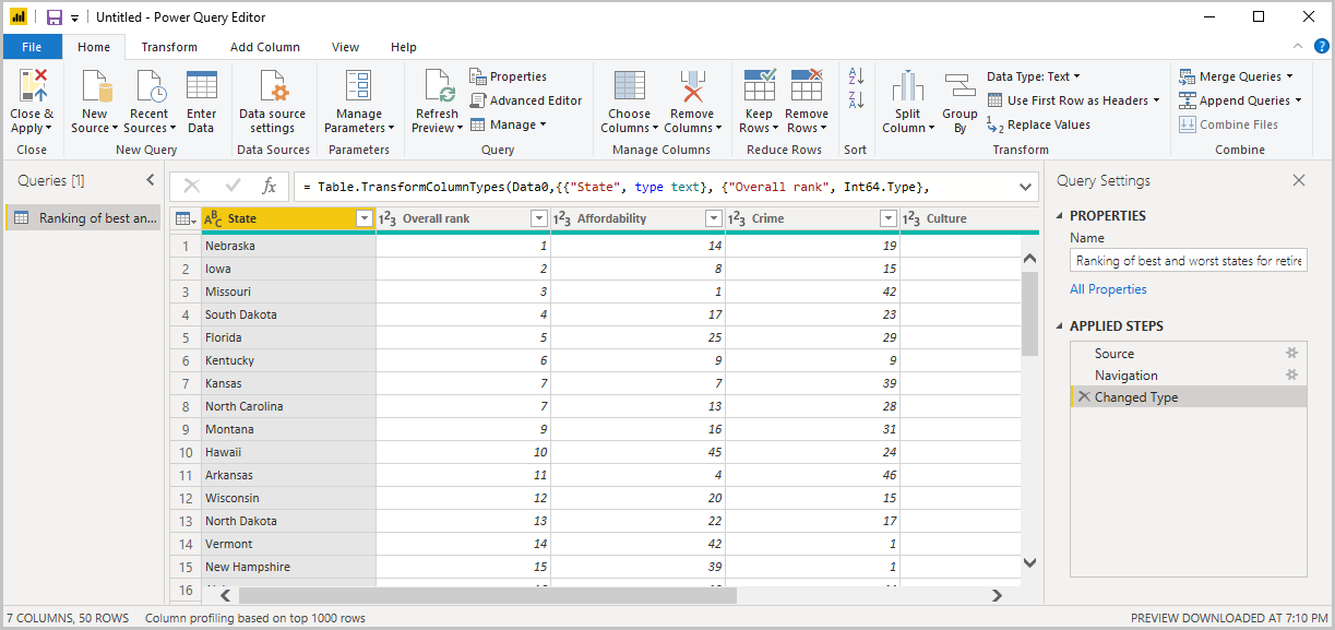 Screenshot of Power B I Desktop showing the Power Query Editor with Query Settings.