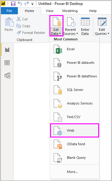 Screenshot of Power B I Desktop showing the Web option of the Get Data tool.