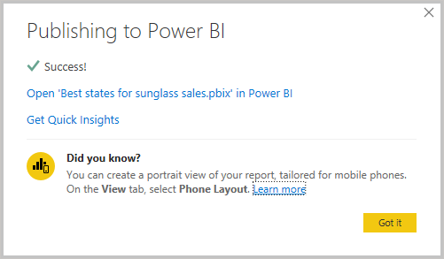 Screenshot of Power B I Desktop showing the Publish Success message.
