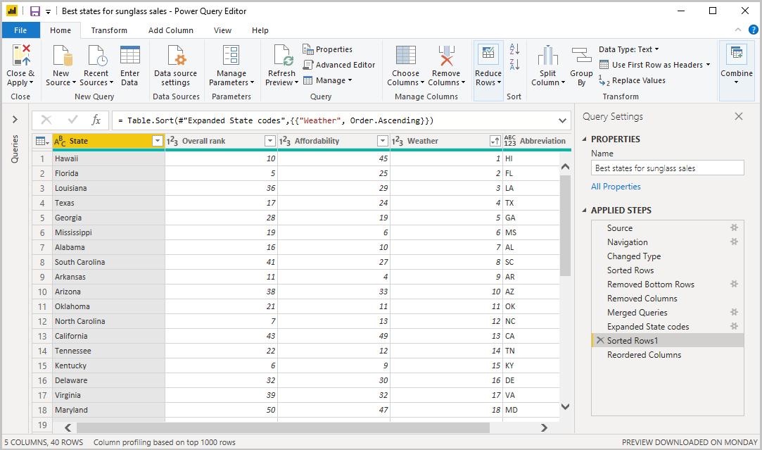 Screenshot of Power B I Desktop showing the Power Query Editor with shaped and combined queries.