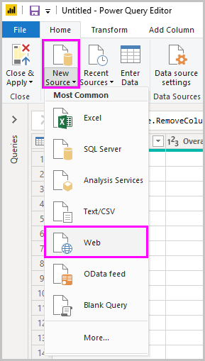 Screenshot of Power B I Desktop showing the Power Query Editor selecting Web from New Source.