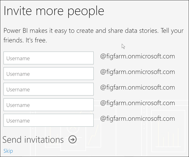 "Screenshot of Power B I service showing the ""invite more people"" screen."