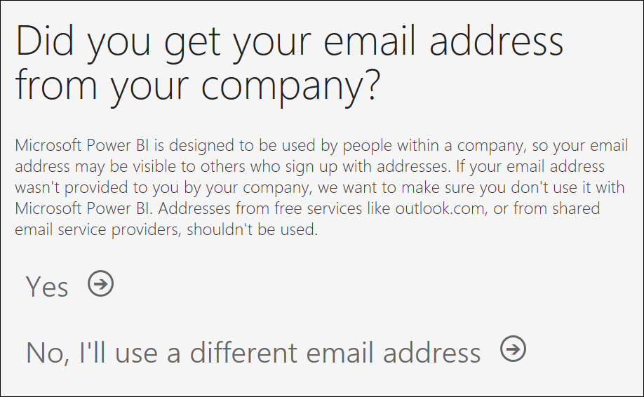 Screenshot of Power B I service showing prompt to confirm email address.