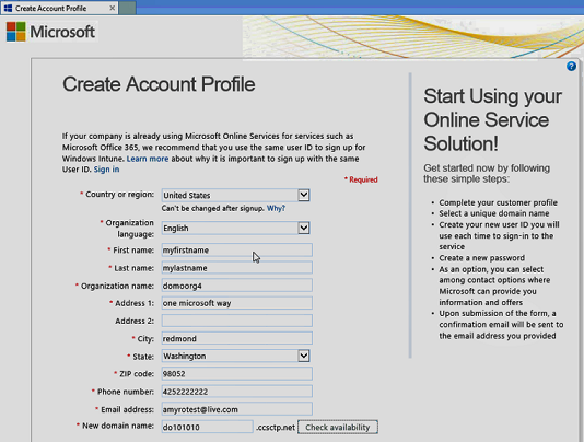 Create account profile page, with sample information