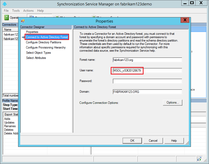 Finding the synchronization service Active Directory user account