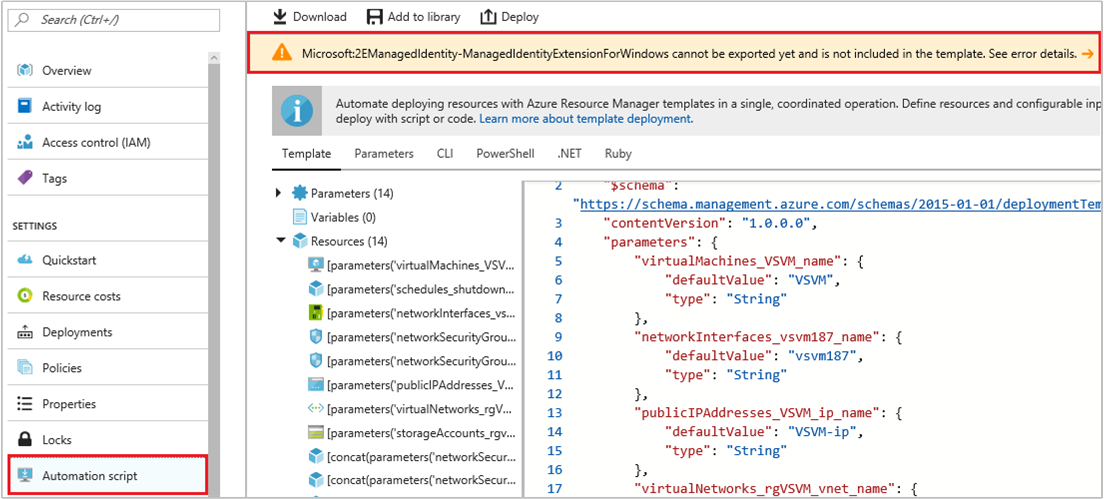 Managed identities for Azure resources automation script export error