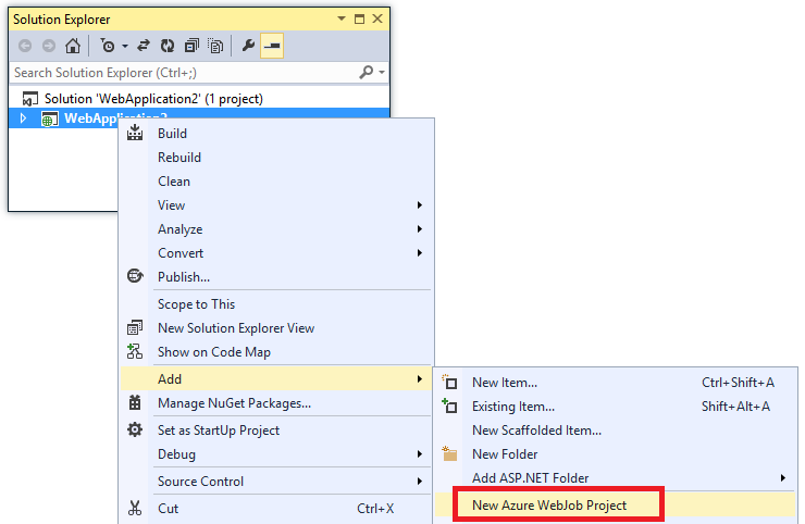 New Azure WebJob Project menu entry