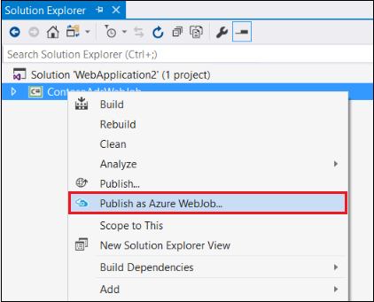 Publish as Azure WebJob