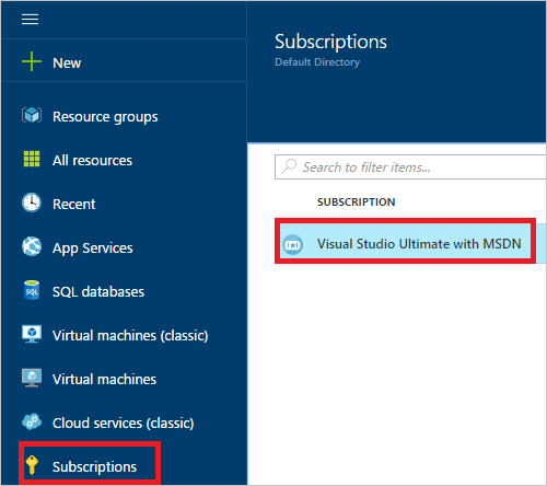 Screenshot that shows a selected subscription