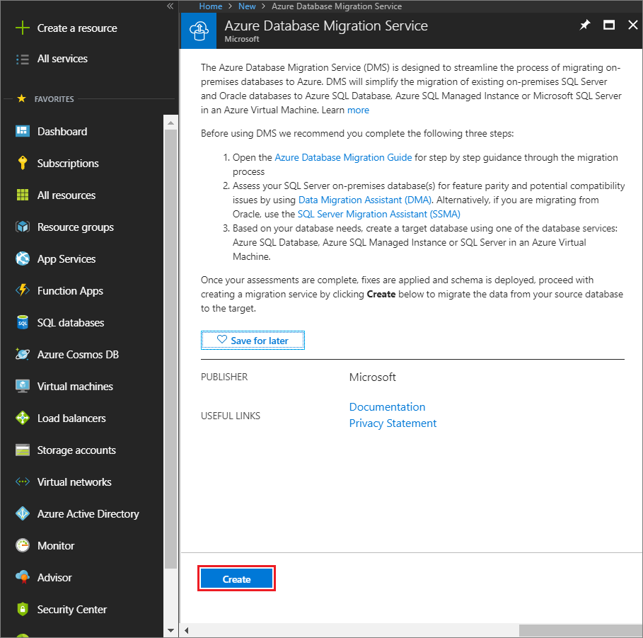 Create Azure Database Migration Service instance
