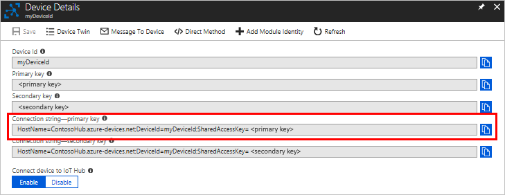 Get the device connection string