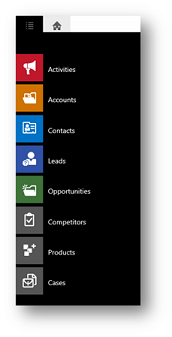 Dynamics 365 for tablets nav bar