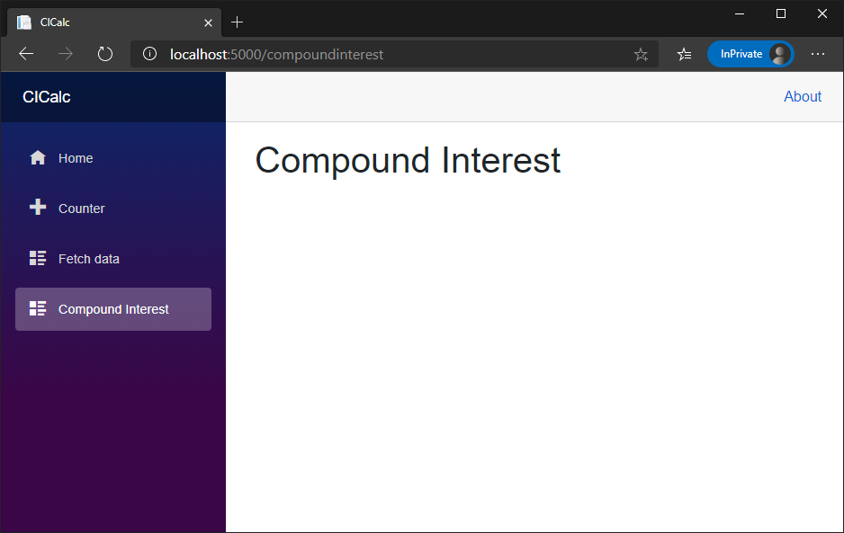 Screenshot showing the Blazor app running in a browser