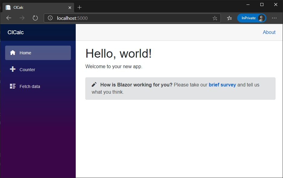 Screenshot showing the default Blazor WebAssembly client app running in a browser
