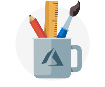 A cup containing an artist's tools