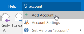 A figure showing how to add an account to Outlook.