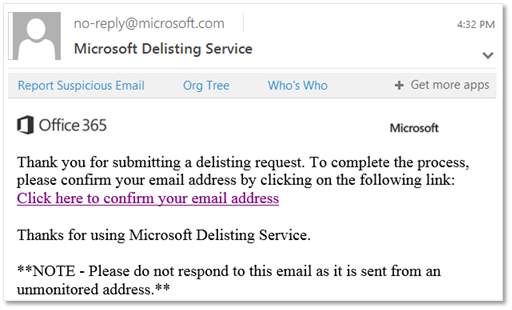 Screenshot of email received when you submit a request through the delist portal