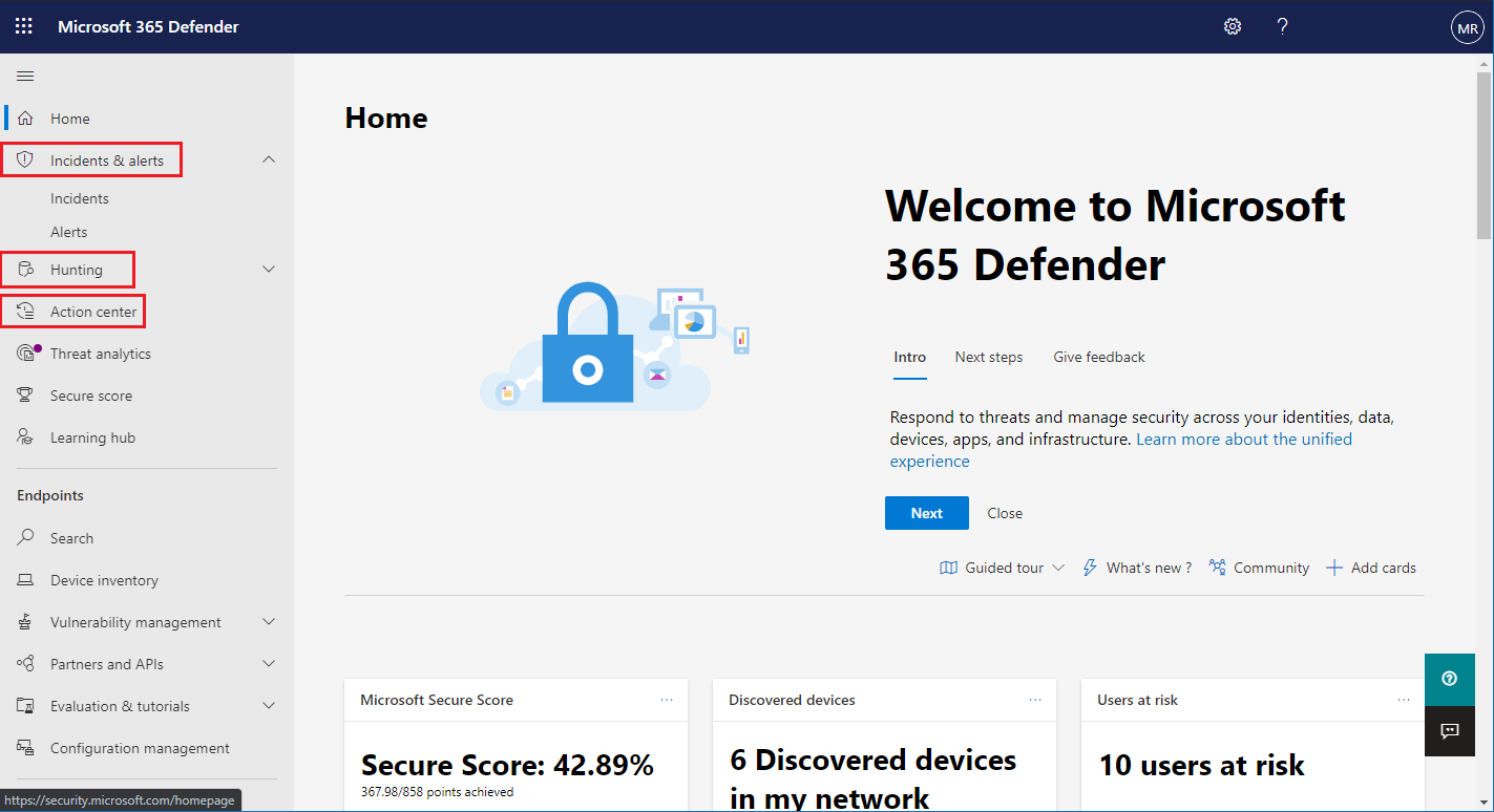 Image of Microsoft 365 security center navigation pane with Microsoft Threat Protection features