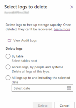 Select audit logs to delete.