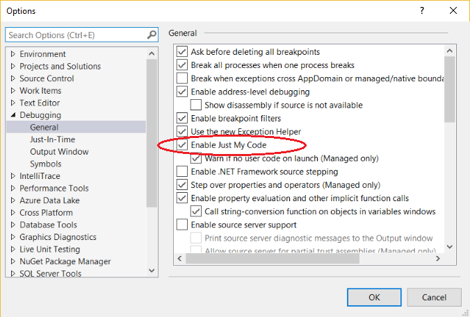 [Visual Studio debugger configuration option: Just My Code]