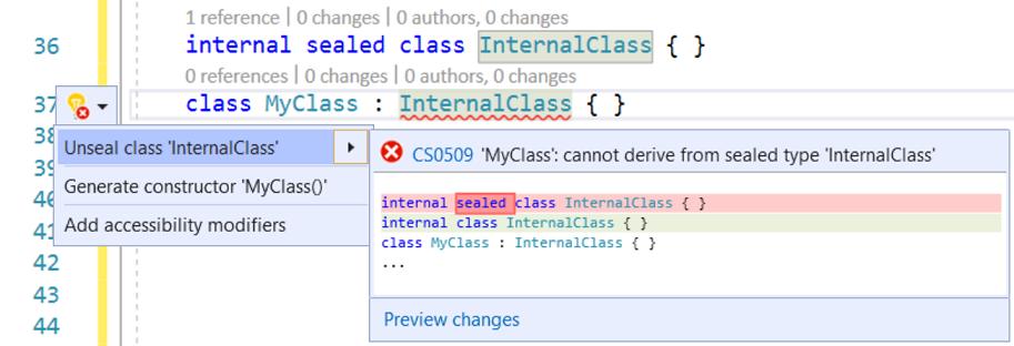 Unseal a class codefix