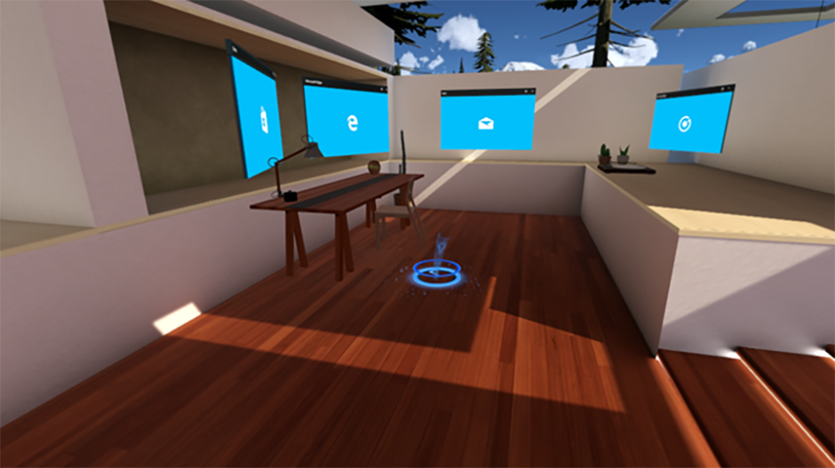 Multiple 2D views laid out around the Windows Mixed Reality home