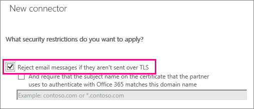 Choose TLS to encrypt email from partner organization