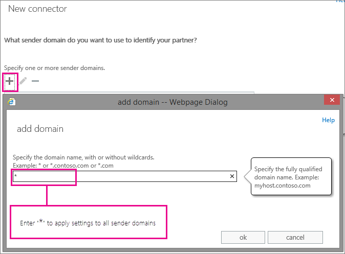 "Enter ""*"" to apply settings to all sender domains"