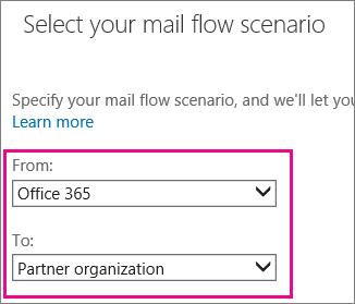 Office 365 to Partner Organization Connector Options