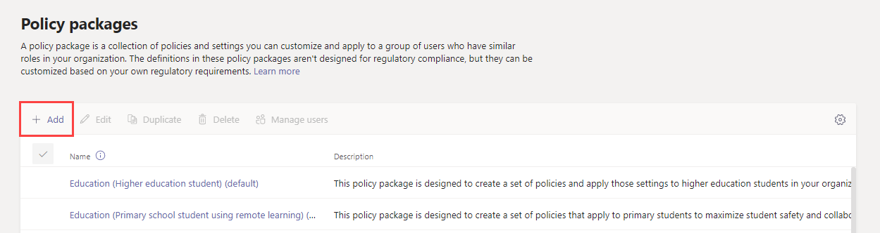Screenshot of Add button on Policy packages page in the admin center