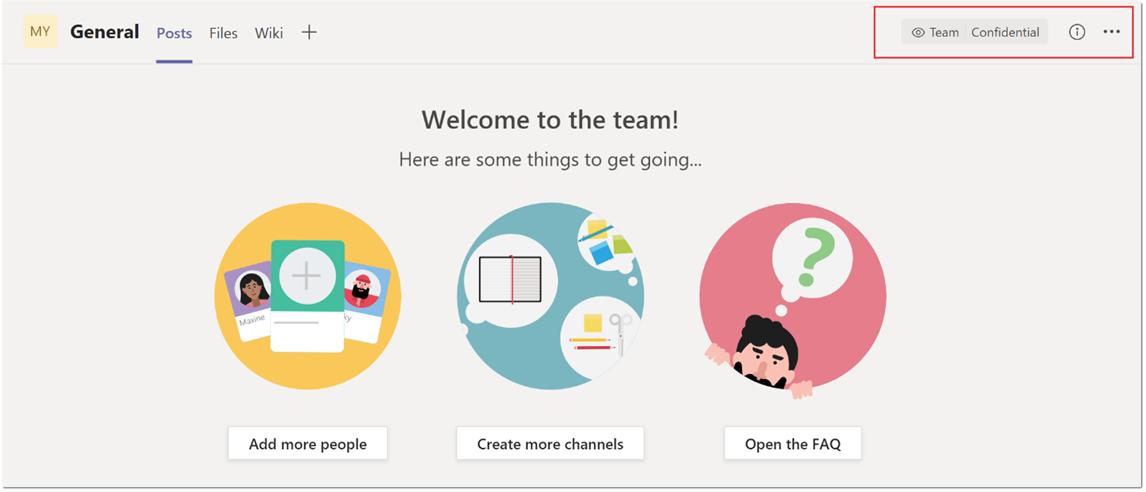 Screenshot of sensitivity label in team channel