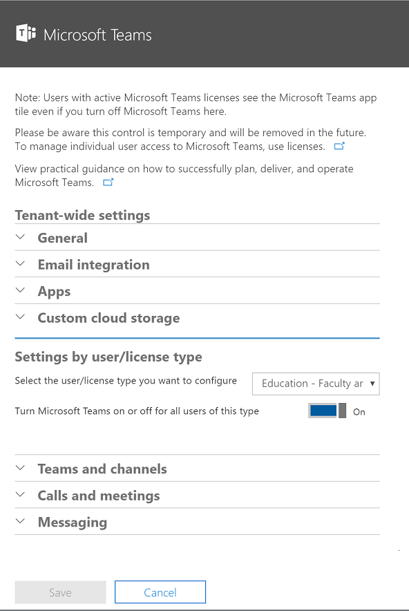 Screenshot of the Microsoft Teams settings page showing the toggle set to On to enable Microsoft Teams.